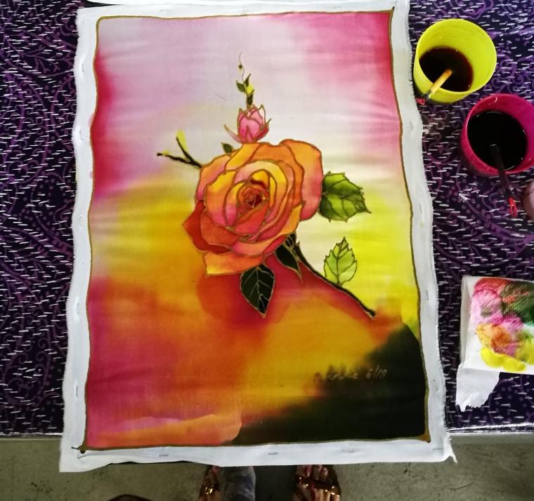 Batik, wax, flower, painting, design, Malaysia